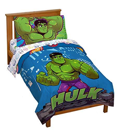 Jay Franco Marvel Super Hero Adventures Hulk Out 4 Piece Toddler Bed Set – Super Soft Microfiber Bed Set Includes Toddler Size Comforter & Sheet Set (Official Marvel Product)