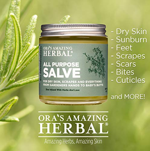All Purpose Salve, Hand Salve, Healing Ointment, Herbal Salve, Cracked Knuckle Cream, Dry Elbows, Cracked Heels, Skin Soothing, Itchy Skin Relief, Dry Hands, 4 oz, Ora's Amazing Herbal