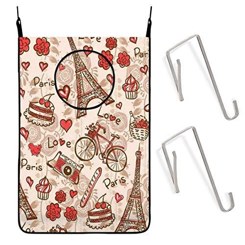 shenguang Paris Eiffel Tower Floral Lovely Bolsa para cesto de lavandería Colgante con Ganchos de...
