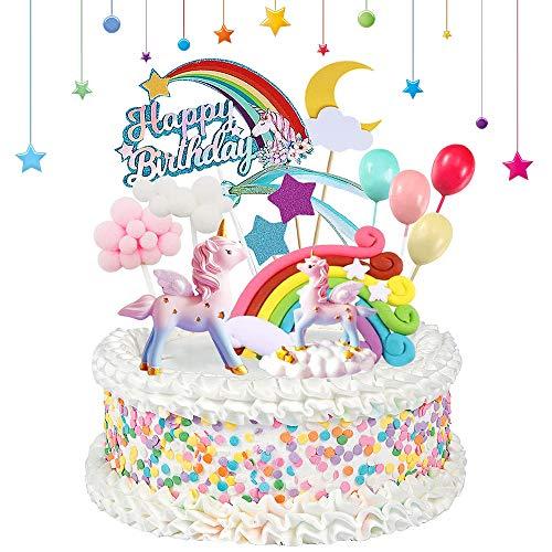Unicorno Cake Topper Kit, Decorazioni Torta Compleanno con Arcobaleno Buon Compleanno Banner Nube Palloncini Luna Stelle, Unicorno Decorazione Torte per Bambini Ragazzi Ragazze Compleanno Decori Torte