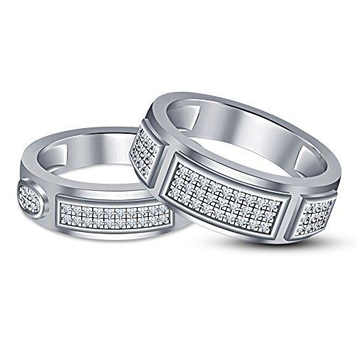 Vorra Fashion Juego de alianzas de boda para pareja con diseño de...