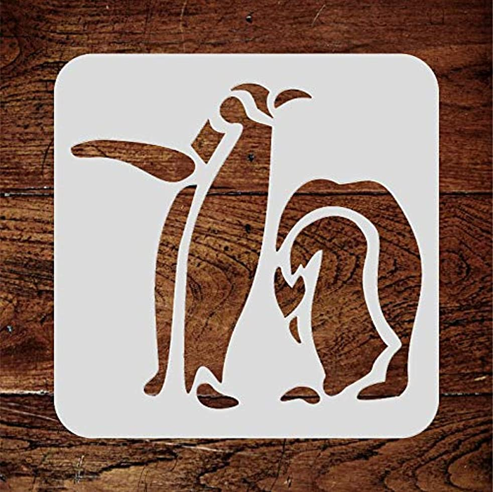 Penguin Stencil - 5.25 x 5 inch (M) - Reusable Arctic Animal Bird Antarctic Wall Stencil Template - Use On Paper Projects Scrapbook Journal Walls Floors Fabric Furniture Glass Wood Etc.
