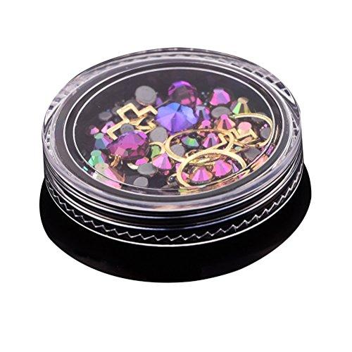 Frcolor 4 cm Manucure Ornement Magic Couleur point en bas et forets Plat forets et fée Perle et bijoux mixte Black Box à ongles Strass 5 (Bleu et Violet)