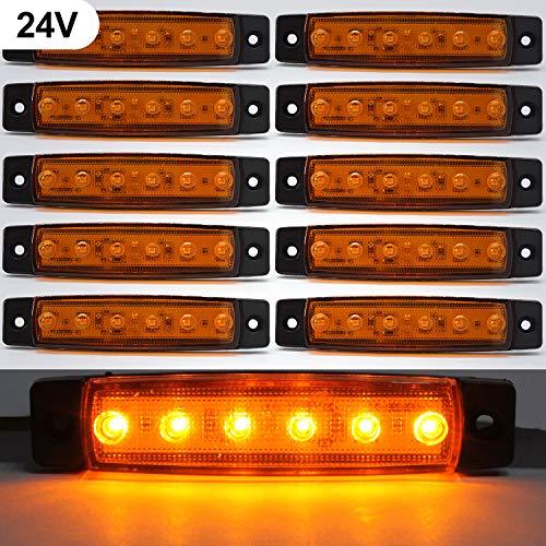 Luces de marcador lateral de LED,Indicadores de posición Ámbar 24V Impermeable Lámparas laterales led para camión remolque Lorry Cab Bus Barco Tractor autocaravana 10pcs