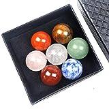 Meirrai Siete Chakra Cristal Natural Piedra Preciosa Ágata 20mm Orbe Meditación Energía Curativa Piedra Conjunto Espécimen (Style B)