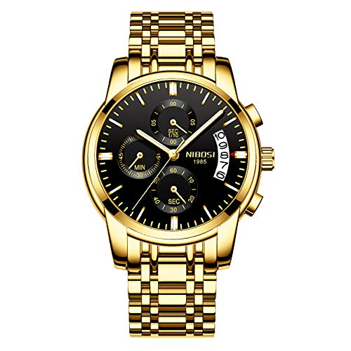 NIBOSI Chronograph Men's Watch (Black Dial Gold Colored Strap)