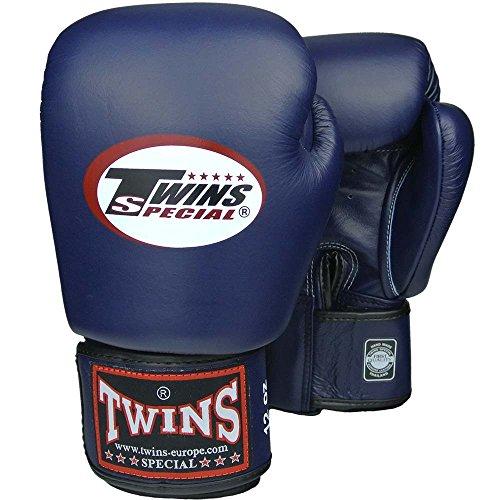 Twins Boxhandschuhe, Leder, blau, Muay Thai, Leather Boxing Gloves, MMA Size 12 Oz