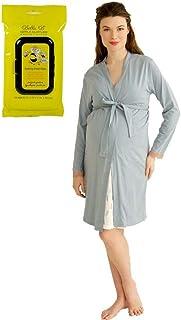 36b14e3955ac Belabumbum Bundle 2Item Plume (Blue) Maternity Nursing Robe + BellaB  Breastwipes