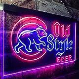 zusme Cubs Old Style Beer Bar Novelty LED Neon Sign Red + Blue W16 x H12