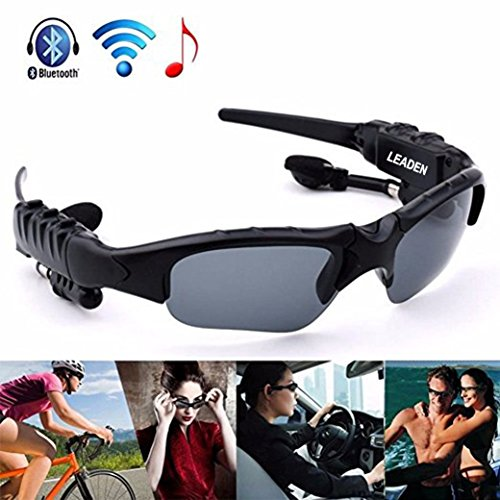 Leaden Wireless Bluetooth MP3 Sunglasses Polarized Lenses Music Sunglasses V4.1 Stereo Handfree Headphone for iPhone Samsung Most Smartphone or PC (Black)