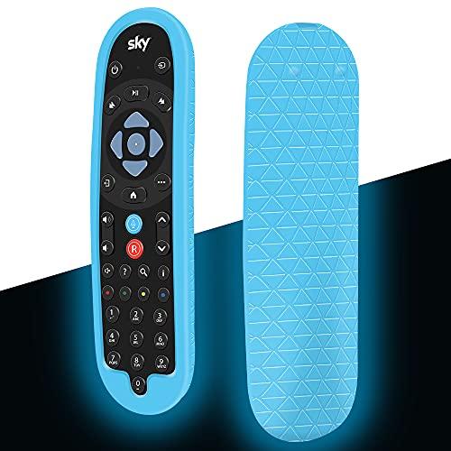 Custodia in Silicone Compatibile con Sky Q Telecomando EC202 / EC201 Smart TV Vocale Telecomando Guscio per Sky Q Voice Remote Protettiva Cover Antiurto Anti-Scivolo Cassa Copertura(Blu Fluorescente)