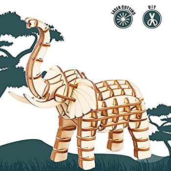 Rolife 3D Wooden Puzzle Wild Animal Toy-DIY Tiny Model Kit-Animal Action Figure-Assembly Jigsaw Puzzle-Home Decoration-Funny Birthday Easter Day Gift for Nephew/Son/Grandson/Boys/Girls Elephant