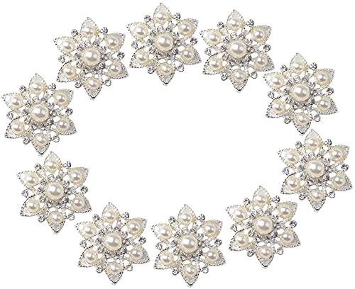 Yikko 10 Stück Strass Buttons Brosche Verschönerungsset Faux Pearl Flatback Button Kristall Hochzeit Brosche Bouquet