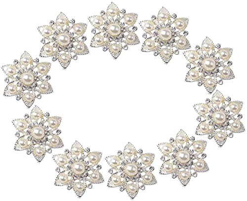 Yikko 10 unidades de broches de estrás, juego de embellecimiento de perlas sintéticas y planas, de cristal, para boda