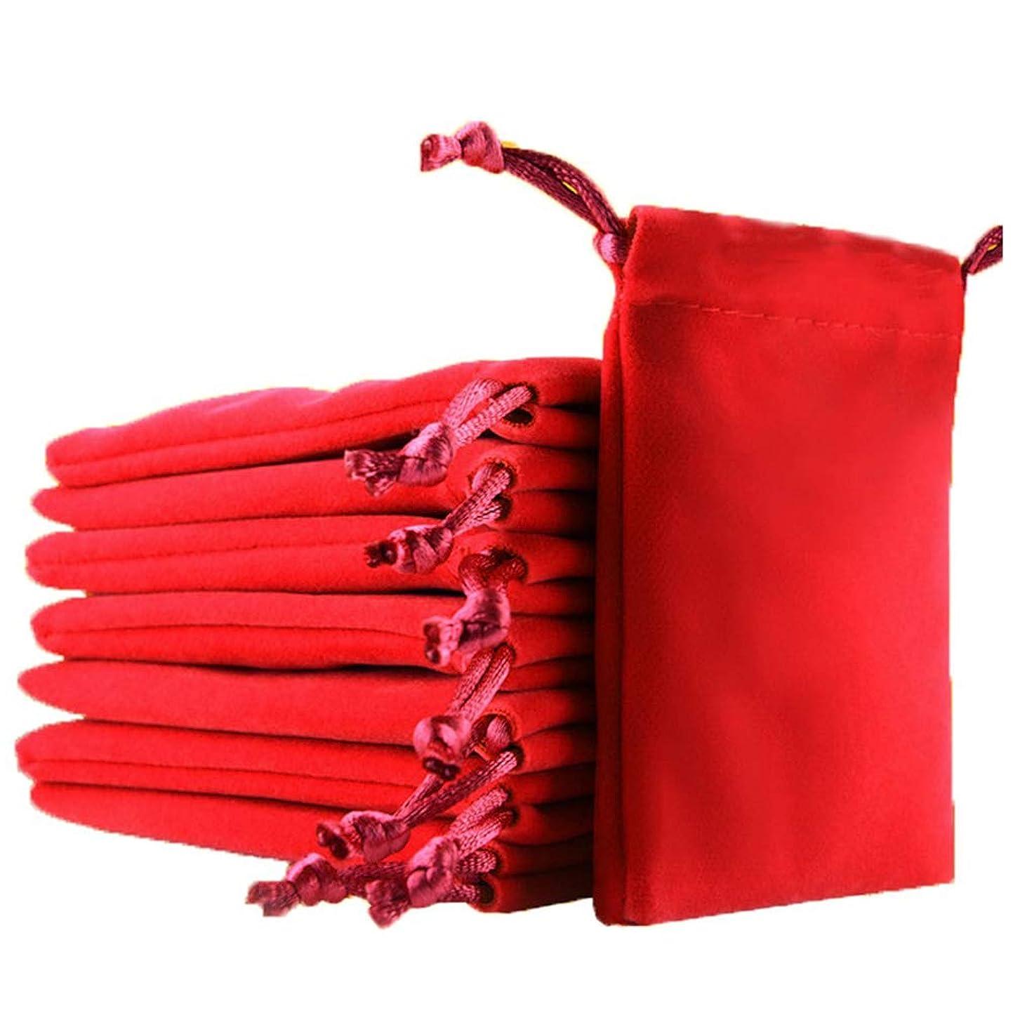 スパーク川弱めるジュエリーポーチ 巾着袋 小物 保存 ジュエリー ギフト収納 10枚セット ベロア プレゼント用ポーチ 小物入れ 柔らかい 洗える 保存袋 アクセサリー 携帯可能 (レッド, 12)