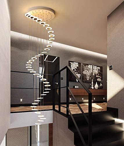 YHNJI Treppen Flur Pendelleuchte Rund Decke Hängelampe Moderne Kreative LED Warmweiß Wohnzimmer Esszimmer Hängende Lampe Kronleuchter Loft Treppenhaus Hall Hotel Shop Dekoration Leuchte,42lights
