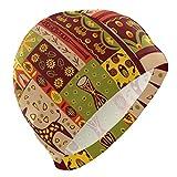Tcerlcir Gorro Natación Impresión de tótem Indio étnico Vintage Gorro de Piscina para Hombre y Mujer Hecho de Silicona Ideal para Pelo Largo y Corto