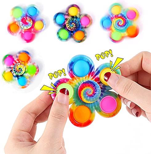 MAQRLT 4 unids Fidget Spinner Popits Spinners Toys, Bubble Tie-Dye Bubble Simple-Dimple Dimple Spinner Set, 2 en 1 Fidget Hand Spinner, Alivio de Estrés para Niños Adulto