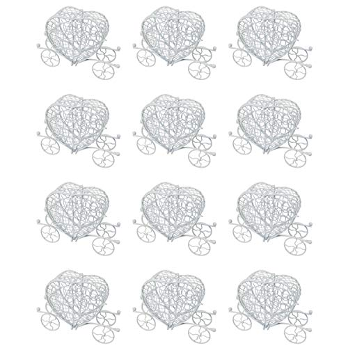 Carro Calabaza Metal de Boda,10X3X8cm,Cajitas de Caramelos,Carro Decorativos de Mesa, Ideal Regalos de Novios-Blanco Corazon