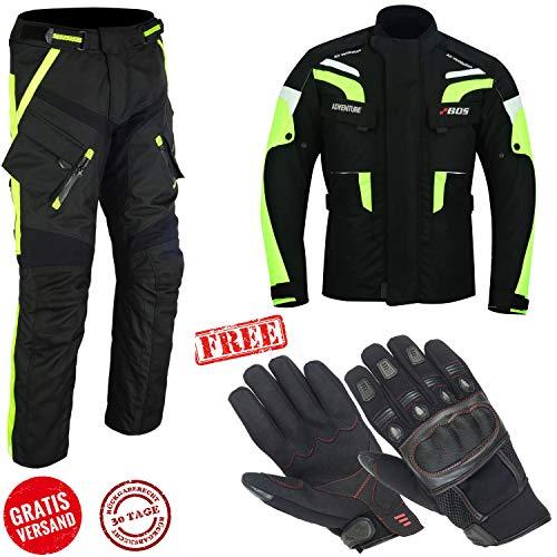 Bel/üftungssystem kurze Motorradjacke mit Protektoren Klimamembrane und herausnehmbarem Thermofutter Schwarze neon gelbe