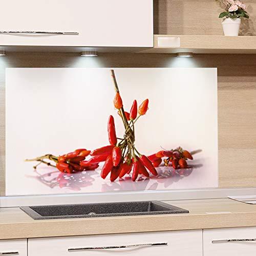 GRAZDesign Küchenrückwand Glas-Bild Spritzschutz Herd Edler Kunstdruck hinter Glas Bild-Motiv Chili Eyecatcher für Zuhause / 60x60cm