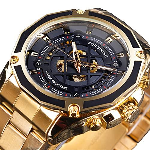 Excellent Relojes mecánicos automáticos de los Hombres Reloj de Reloj de Pulsera analógico con Correa de Acero Inoxidable Deportes Esqueleto,A02