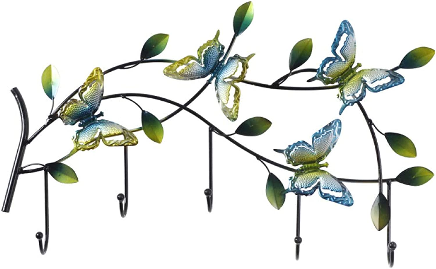 Country Hook Coat Hook Key Hook - Wrought Iron Butterfly - for Wall Wall Decoration Doorway,A