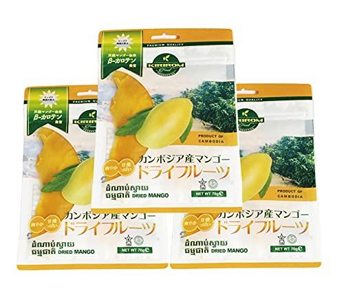ドライマンゴー カンボジア産 スライスカット 砂糖使用量を低減した低糖加工 着色料・香料不使用 おかえりマンゴー ケオロミート種 KIRIROM キリロム (70g×3袋)