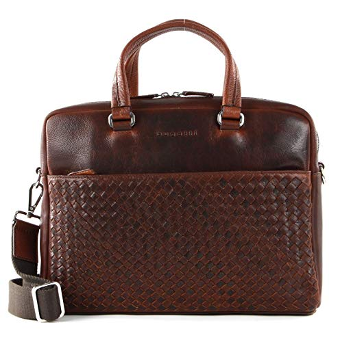 bugatti Woven Briefcase Simple British Tan