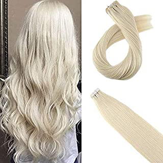 Moresoo Remy Human Hair Extensions 14inch Tape on Hair Seamless Skin Weft Adhesive Hair Extensions Platinum Blonde #60 Human Hair Extensions Blonde 20pcs/40g
