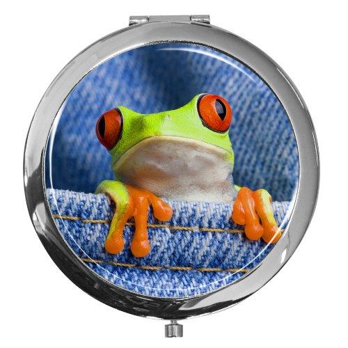 metALUm Taschen - Spiegel aus verchromten Metall mit niedlichem leuchtend buntem Frosch