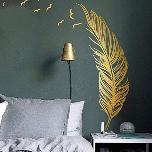 Wandtattoo für Schlafzimmer, Golden Feder Wandsticker als Wanddekoration für Wohnzimmer 120x180cm Wand Aufkleber | Deko Wandaufkleber für Wand Fenster Möbel/Schrank Küche Fenster Flur