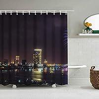 装飾のシャワー・カーテンの多彩な大胆な設計、生地の浴室の装飾セットフック180 * 200 cm、マルチ 341. 花火大会
