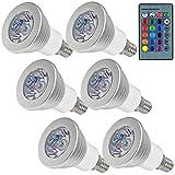 MENGS 6 Stück 3W RGB LED Reflektorlampe E14 LED Farbige Licht Leuchtmit RGB LED Leuchtmittel Dimmbar mit Fernbedienung, ersetzt 20W, 60° Abstrahlwinkel 180lm für Ambiente Party Deko