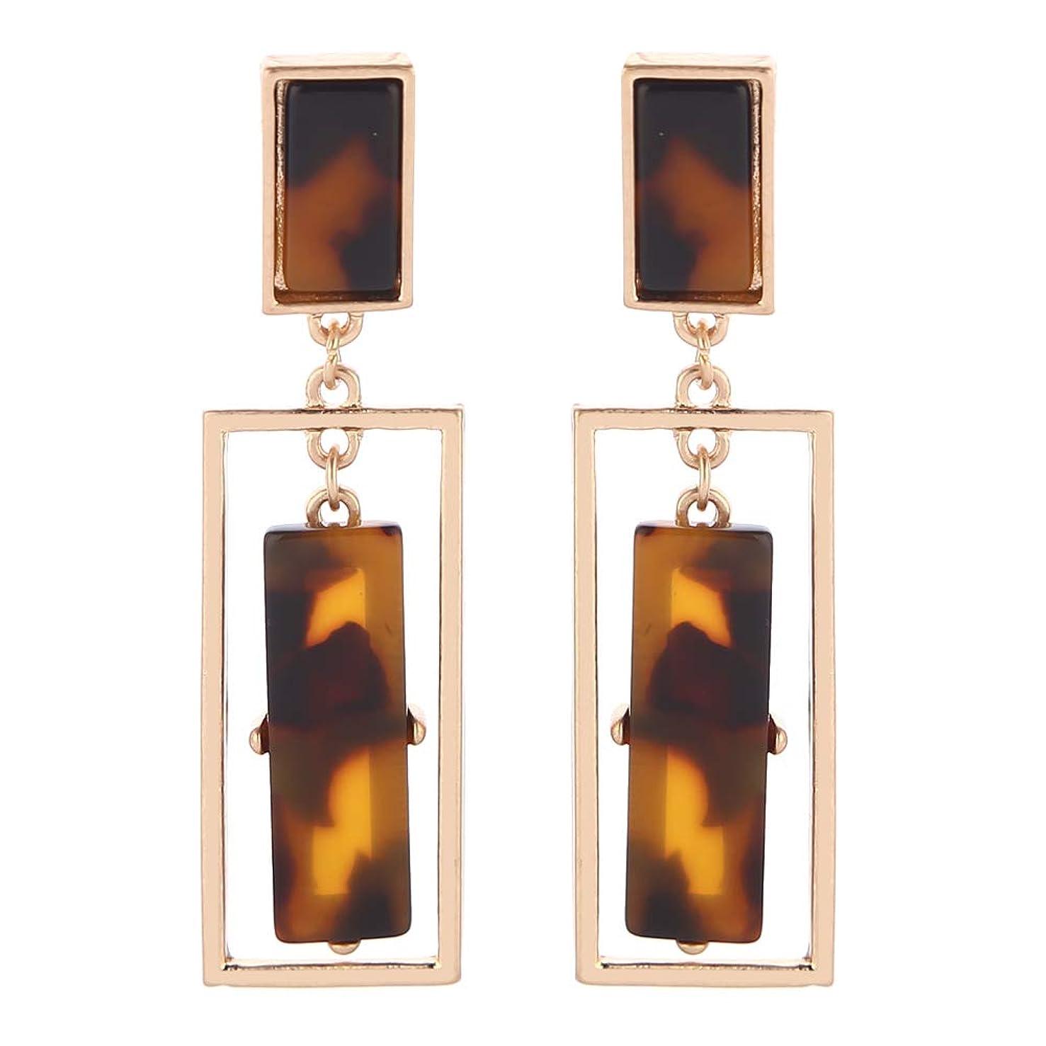 Eran Fashions Acrylic Earrings Women's Cellulose Acetate Earrings Geometric Double Rectangle Dangle Earrings