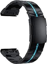 RABUZI Compatible Garmin Fenix 6X/5X Plus Band,26mm Enamel Titanium Metal Quick Release Easy Fit Watch Strap for Garmin Fenix 6X/6X Pro/5X/5X Plus/3/3HR Smartwatch,Black+Blue Enamel Process