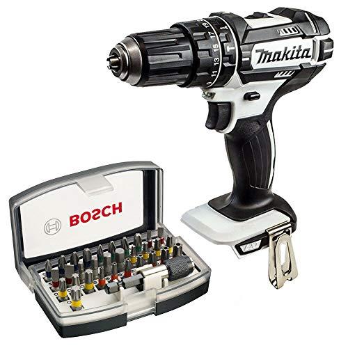 Makita DHP482Z White 18V Combi Drill with Bosch Screwdriver Bit Set 32pcs