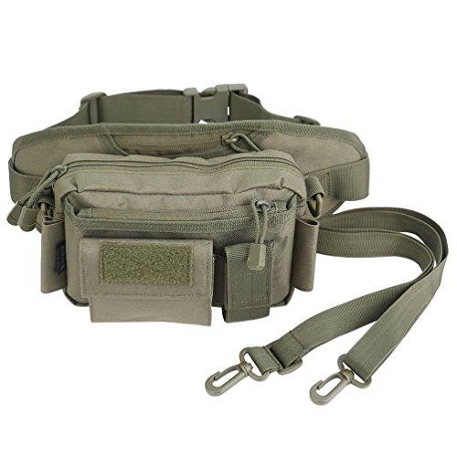 OLEADER Taktische Taille Pack Military Fanny Packs Hüftgürtel Tasche Beutel Werkzeug Organizer für Outdoor Wandern Klettern Angeln Jagd Bum Bag (Wüste digital) (Grün)