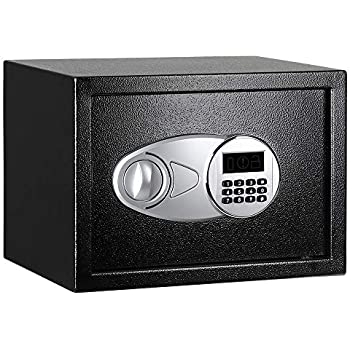 Stash Safe AmazonBasics Steel, Security Safe Lock Box, Black - 0.5 Cubic Feet