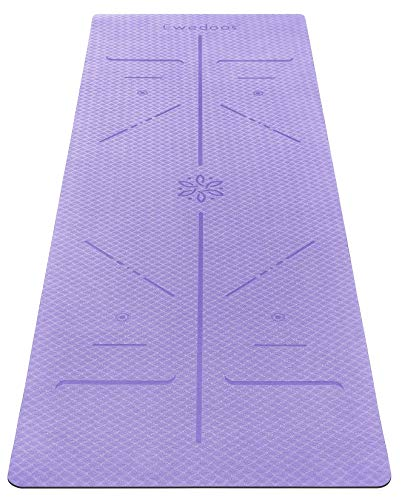 Ewedoos Eco Friendly Yoga Mat with Alignment Lines, TPE Yoga Mat Non Slip Textured Surfaces ¼-Inch Thick High Density Padding To Avoid Sore Knees, Perfect for Yoga, Pilates and Fitness (Light Purple)
