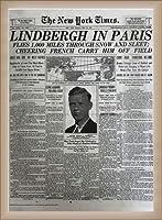 ポスター ピーター リンドバーグ VISIONAIRE(ヴィジョネアー)チャールズ・リンドバーグ NYタイムズ1927年5月22日 額装品 ウッドベーシックフレーム(オフホワイト)
