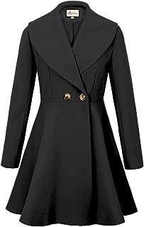 Begonia.K Women's Wool Trench Coat Lapel Wrap Swing Winter Long Overcoat Jacket