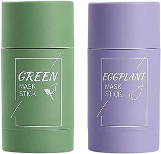 Qwing Massief gezichtsmasker,Groene Thee Aubergine Zuiverende klei Stokmasker, Olie controle Anti acne Stevig diep schoon ...