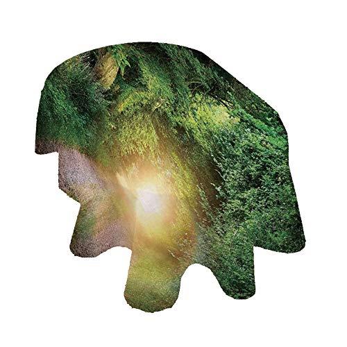 Angel Bags - Mantel ovalado mágico, diseño de camino de fantasía que conduce a un túnel iluminado místico entre árboles, color verde y amarillo