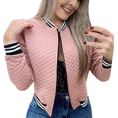Tidecc Women Bomber Jacket Ladies Long Sleeve Biker Jacket Zip up Baseball Jacket Bomber Jacket Cardigan Outwear (Tag 2XL(UK 14-16), Pink)