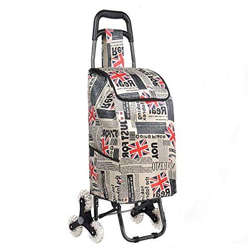 GLMOY Waren Auto Kaufen Lebensmittel Kleiner Wagen Faltbare Treppensteigen Hand Home Tragbarer Korb Handstoßstange Anhänger- Rice Word English