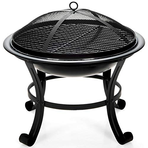 Black Metal Round Fire Pit Bowl Patio Outdoor Camping Cooking BBQ Grill Elevate Firpit Mesh Lid Grate Poker with Ebook