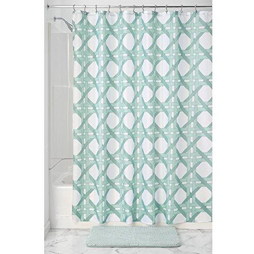 InterDesign Raffia Lattice rideau de douche textile, rideau imperméable 183,0 cm x 183,0 cm, pour douche et baignoire, en polyester, vert