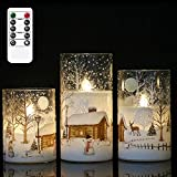 DRomance White Christmas Glass Flickering Flameless Candles Battery Operated with 10-Key Remote and Timer Set of 3 Real Wax Holiday LED Window Pillar Decor Candles(Snowman Decal, 3 x 4, 5, 6 Inches)