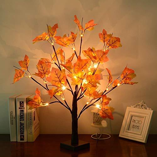 LED Baum Licht, WZOED 50cm 24 LEDs Lichterbaum Batteriebetriebenes Schreibtisch Ahornblatt (Herbst) Baumlicht Warmweiß, Perfekt für Erntedankfest,Wohnzimmer, Schlafzimmer, Hochzeit, Weihnacht